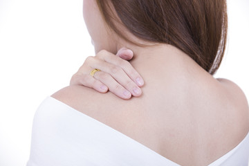 Woman has shoulder pain