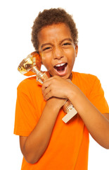 Extreme positive emotion on boy winner in sport