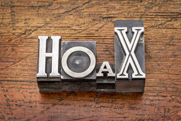 hoax word in  metal type