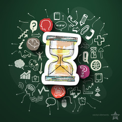 Hourglass collage with icons on blackboard
