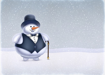 Christmas greeting card. Illustration of Snowman
