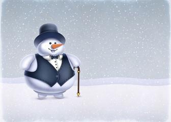 Christmas greeting card. Illustration of Snowman