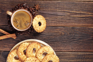 Coffee and cookies with nuts