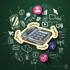 Internet media with icons on blackboard
