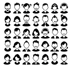 Set of boys and girls avatars and operator icons.