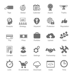 Set  silhouetted black and white SEO  internet icons for