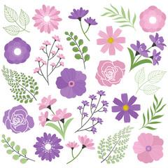 Pink & purple floral set