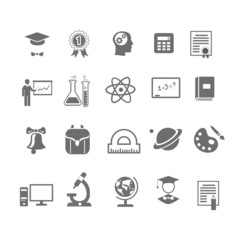 Black and white silhouette school  education icons on