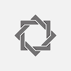Intertwined geometric shapes, squares, vector