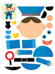 Exercise with scissors for childlren - policeman