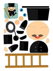 Exercise with scissors for childlren - chimney sweep