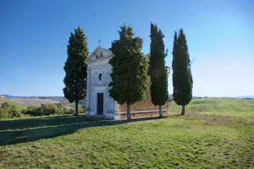 Cappella di Vitaleta, Val d'Orcia in Tuscany Italy