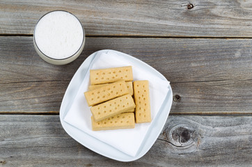 Top view of cookies and rich milk