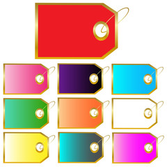 Colorful Gifts Tags Isolated on White