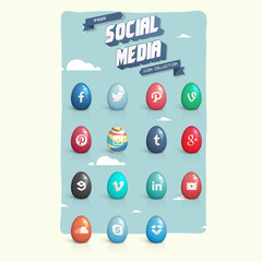 Social media eggs icon set