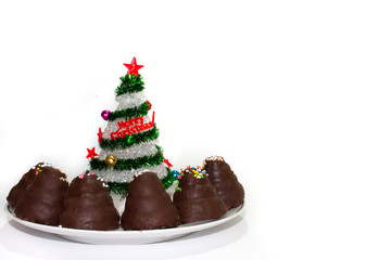 Christmas tree with chocolate cake