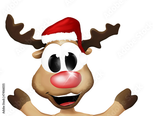 canvas print picture Super Happy Christmas Reindeer