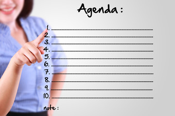 business woman designate agenda list