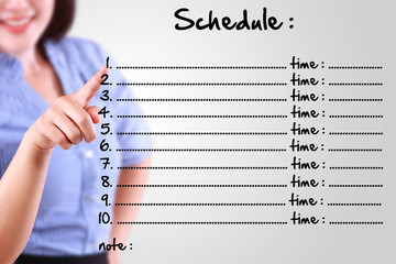 business woman appointing schedule