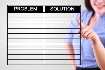 business woman designed problem and solution list
