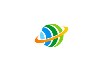 eco globe sphere orbit color logo