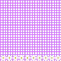 Purple plaid background with daisy flowers, vector image