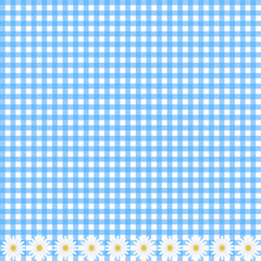 Blue plaid background with daisy flowers, vector image