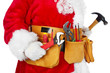 Santa Claus with a tool belt. - 74168045