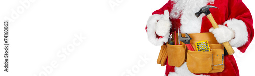 Santa Claus with a tool belt. - 74168063