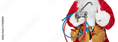 Santa Claus with a tool belt. - 74168069