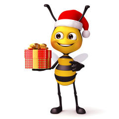 Bee with Xmas gift