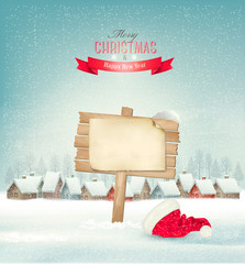 Holiday Christmas background with a village and a sign. Vector.