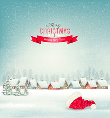 Holiday Christmas background with a village and a santa hat. Vec