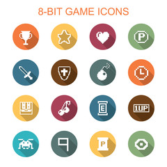 8-bit game long shadow icons