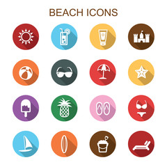 beach long shadow icons