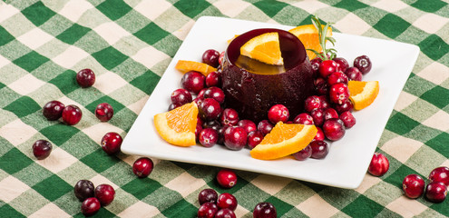 Plate of cranberry sauce with whole berries