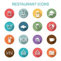 restaurant long shadow icons