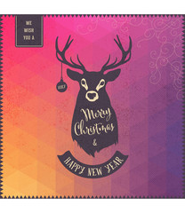 colorful christmas greeting card with deer