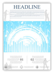 Abstract blue music flyer design