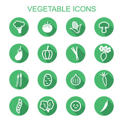vegetable long shadow icons