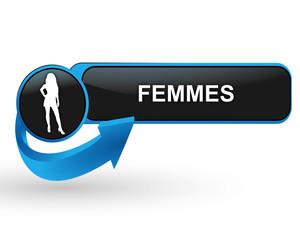 femmes sur bouton web design bleu