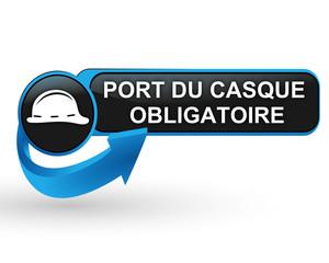 port du casque obligatoire sur bouton web design bleu