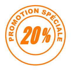 promotion spéciale 20 pour 100 sur bouton web rond orange
