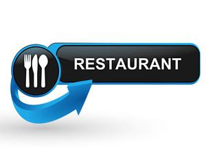 restaurant sur bouton web design bleu
