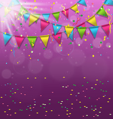 Multicolored bright buntings garlands with confetti and light on
