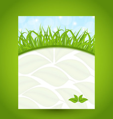 Ecology card with green grass and eco leaves