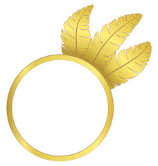 Gold frame ring with three feathers isolated on white background