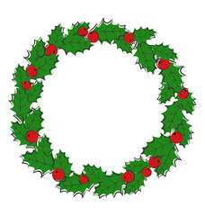Flat Christmas wreath with holly sprigs isolated on white backgr