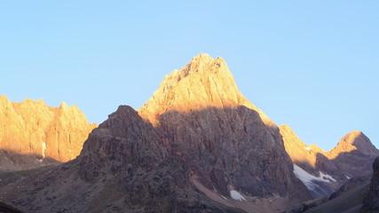 Morning light in the mountains. TimeLapse, Pamir, Tajikistan