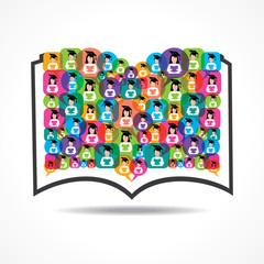 Book Icon colorful graduate student icon stock vector